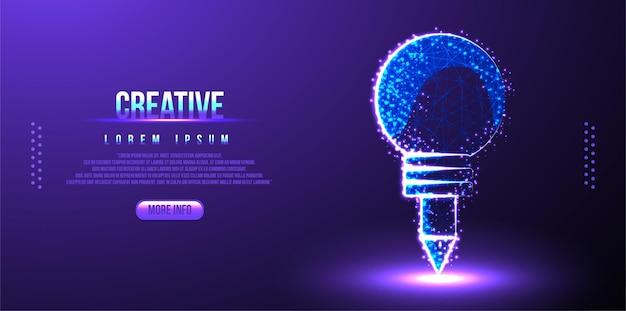 Kreative glühbirne und stift. niedrige poly
