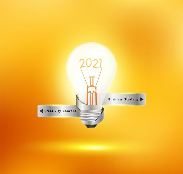 Kreative glühbirnenidee mit neujahrsentwurf 2021