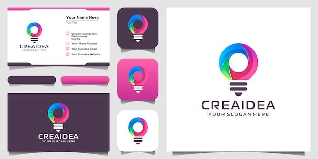 Kreative glühbirnenlampenlogoikone und visitenkartenentwurf. glühbirne digital und technologie idee