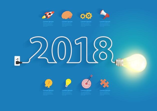 Kreative glühlampeidee des vektors mit design des neuen jahres 2018