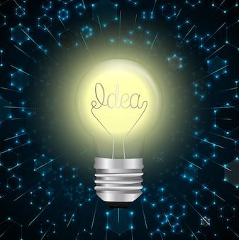 Kreative glühlampeidee mit molekülstrukturhintergrund