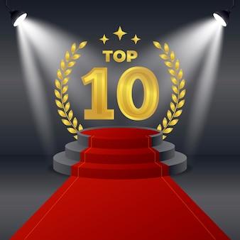 Kreative goldene top-ten-auszeichnung für das beste podium