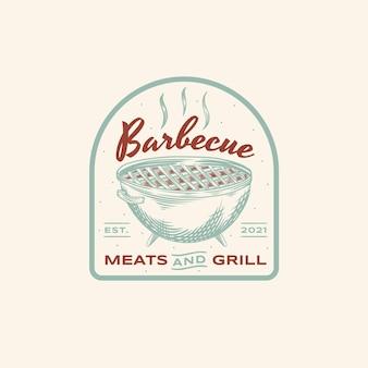 Kreative grilllogoschablone mit details