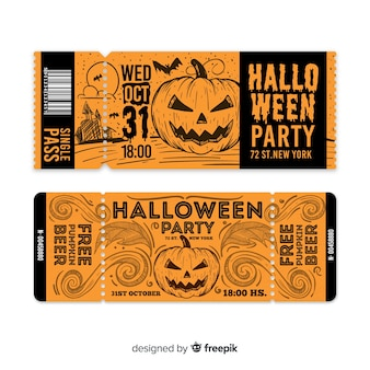 Kreative halloween ticketvorlage
