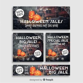 Kreative halloween web verkauf banner sammlung