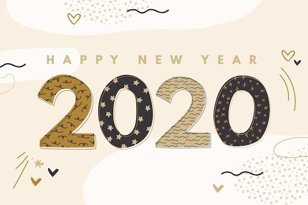 Kreative hand gezeichneter hintergrund des neuen jahres 2020
