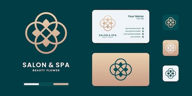 Kreative hand zeichnen femininen schönheitssalon und spa mit line-art-logo. goldenes logo-design
