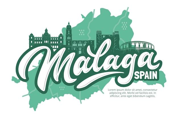 Kreative handgezeichnete malaga-karte