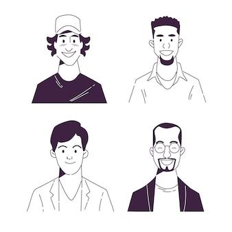 Kreative handgezeichnete profilikonensammlung
