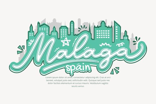 Kreative handgezeichnete skyline von malaga