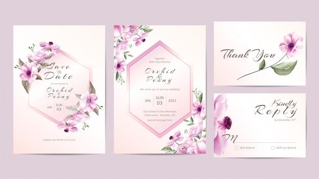 Kreative hochzeitseinladungsschablone eingestellt mit rosa blumen