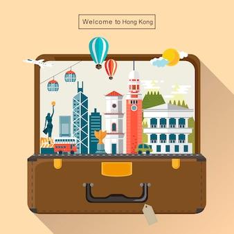 Kreative hongkong-reiseattraktionen im gepäck