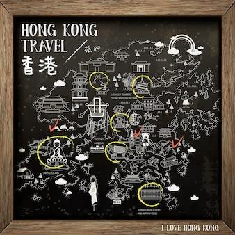 Kreative hongkong-reisekarte an der tafel - der titel oben links ist hongkong im chinesischen wort