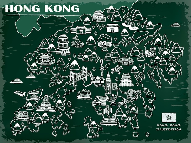 Kreative hongkong-reisekarte an der tafel