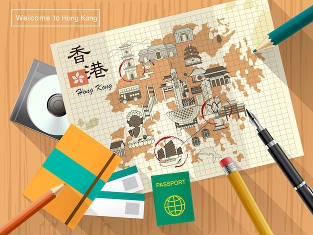Kreative hongkong-reisekarte auf briefpapier - der titel oben links ist hongkong-reise in chinesischem wort
