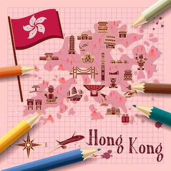 Kreative hongkong-reisekarte auf briefpapier