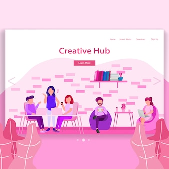 Kreative hub coworking space landing page illustration