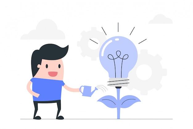 Kreative idee, bildung, investition in das ideenkonzept.