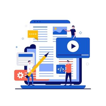 Kreative idee, digitale portfolio online-design-konzepte mit charakter.