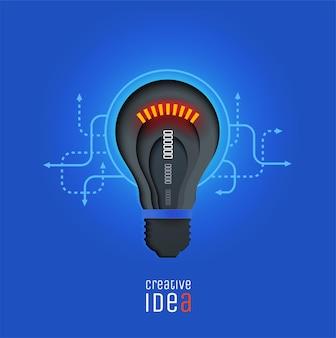Kreative idee erfindung inspiration innovationslösung scherenschnittlampe