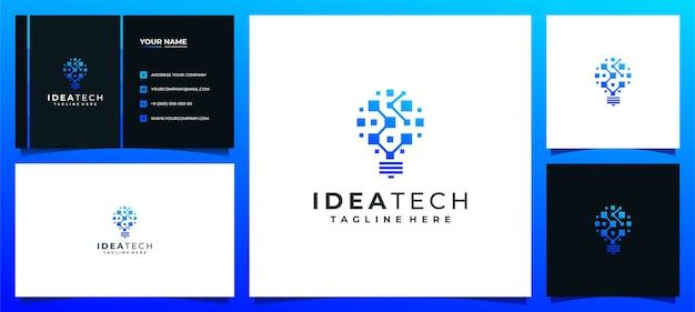 Kreative idee logo lampe lampe digital für technologieunternehmen und visitenkarte