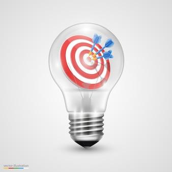 Kreative idee spritzt in glühbirne.