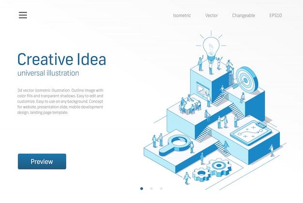Kreative idee. teamwork für geschäftsleute im büro. innovative moderne isometrische linienillustration. brainstorming-prozess, inspirieren, strategie-symbol hervorheben. 3d hintergrund. wachstumsschritt infografik-konzept
