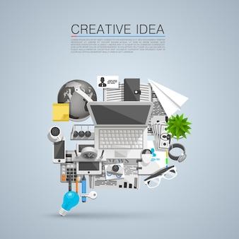 Kreative idee von flachen collagensymbolen. vektor-illustration