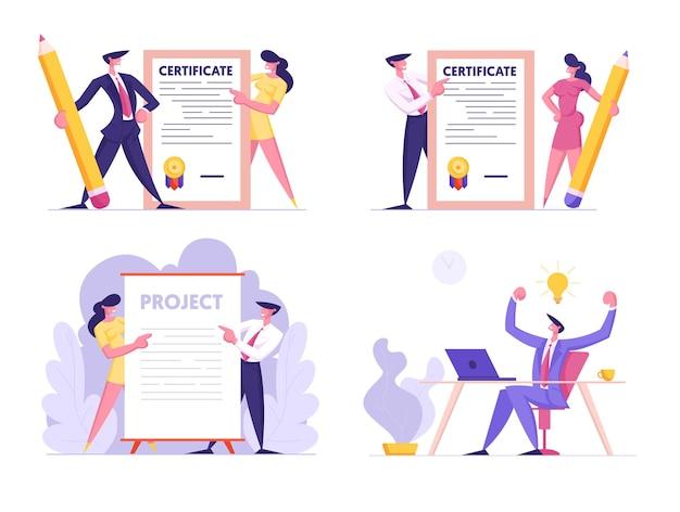Kreative idee, zertifikat und projektunterzeichnung setzen geschäftsleute, die papierdokument halten