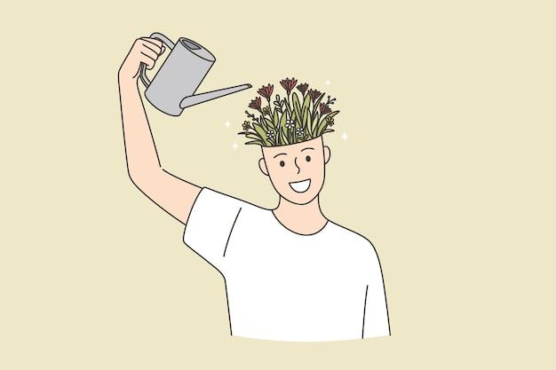 Kreative ideen, entwicklung, individuelles wachstumskonzept. junge lächelnde glückliche mann-cartoon-figur, die einen bewässerungskopf voller blumen steht, die in der topfvektorillustration blühen