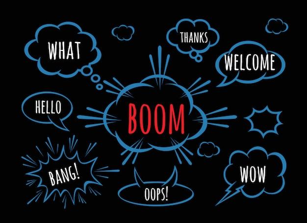 Kreative ideengesprächs-comicsbuch-skizzenexplosion