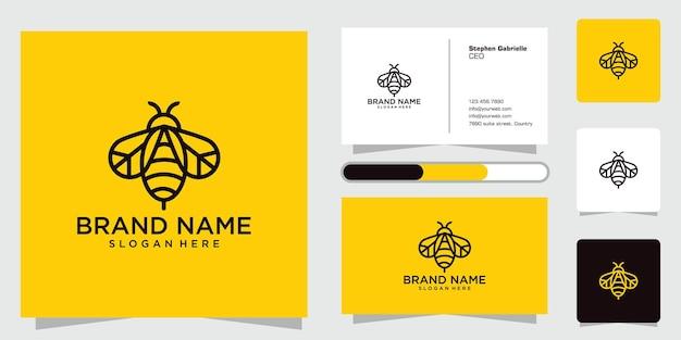 Kreative ikone des bienenlogodesigns mit stilvollen linien und visitenkarten