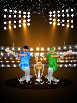 Kreative illustration cricket-meisterschaft mit stadion