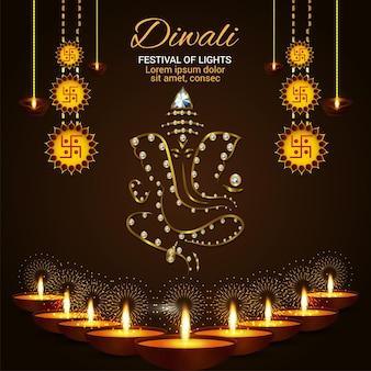 Kreative illustration der glücklichen diwali-feier-grußkarte mit goldener ganesha-illustration
