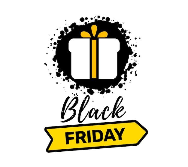Kreative illustration der schwarzen freitag-verkauf-inschrifttypografie mit geschenk und band auf weißem farbhintergrund. t.