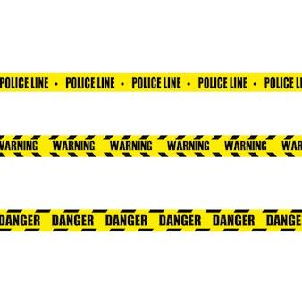 Kreative illustration der schwarzen und gelben polizeistreifengrenze. satz warnbänder für gefahren.