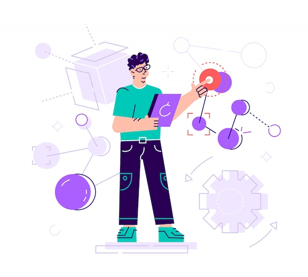 Kreative illustration. der wissenschaftler führt laboruntersuchungen durch und untersucht die statistischen daten der ergebnisse. verbindung malekul und atome. moderne technologie maschinelles lernen, künstlich