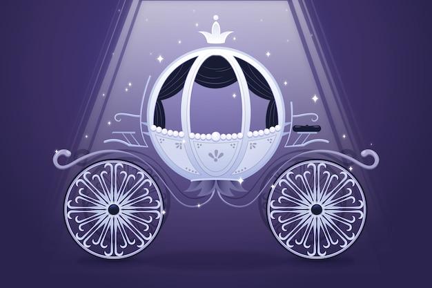Kreative illustration des eleganten märchenwagens