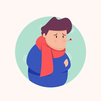 Kreative illustration des jungen mit einer erkältung