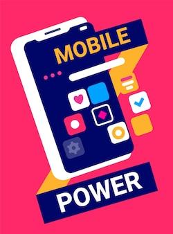 Kreative illustration des mobiltelefons mit anwendungssymbol auf rotem hintergrund mit kopfzeile