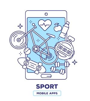 Kreative illustration des mobiltelefons mit fahrrad