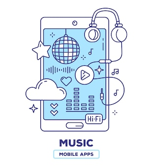 Kreative illustration des mobiltelefons mit kopfhörern