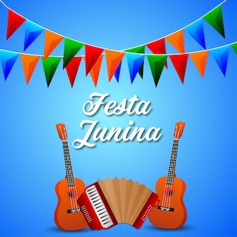 Kreative illustration festa junina mit gitarre und bunter partyflagge