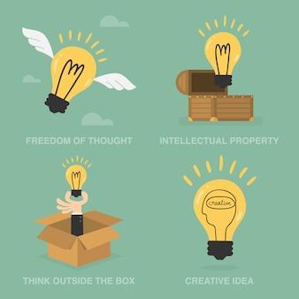 Kreative illustrationen mit glühbirnen
