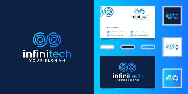 Kreative infinity tech linie. modernes unendlichkeitslogodesign und visitenkarte