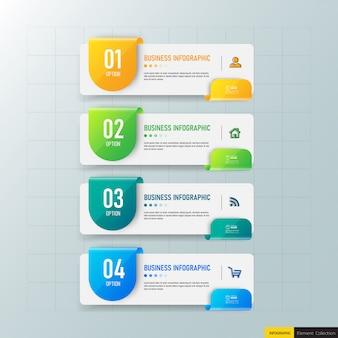 Kreative infografik 4 schritte vorlage Premium Vektoren