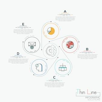 Kreative infografik, 5 kreise mit herumliegenden piktogrammen