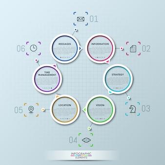 Kreative infografik mit sechs kreisförmigen elementen