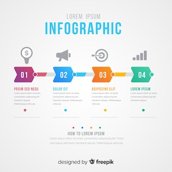 Kreative infografik schritte konzept