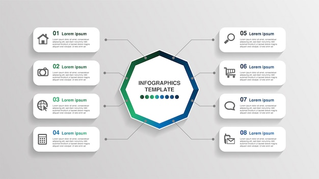Kreative infografik-vorlage, 8 rechteck-textfelder mit piktogrammen.